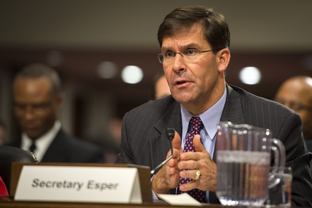 Secretary of the Army Dr. Mark T. Esper speaks before the Senate Armed Services Committee, Dec. 7, 2017.