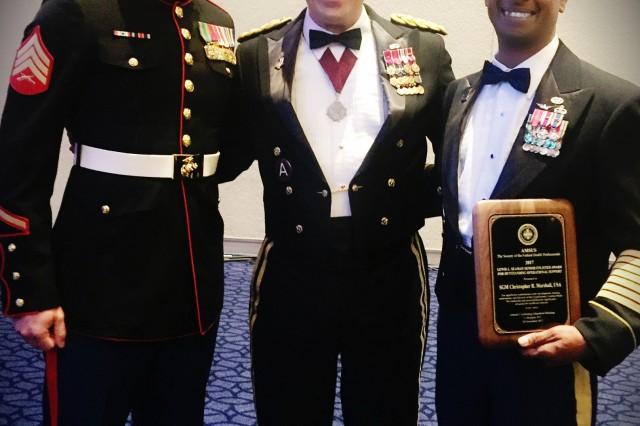 SGT Michael Beck, USMC, MG Brian C. Lein, SGM Christopher R. Marshall
