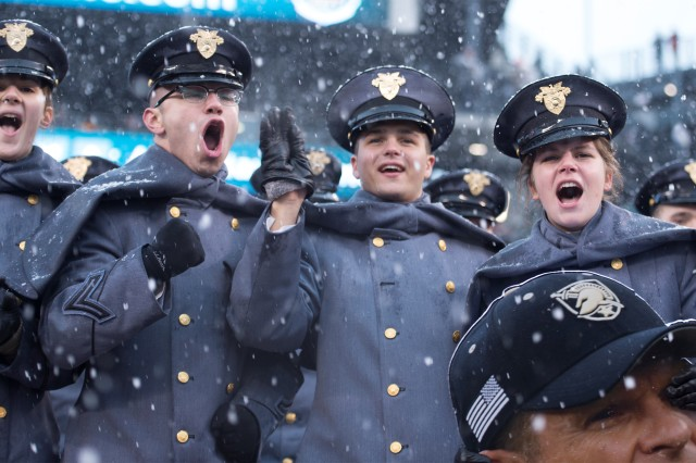 West Point cadets cheer on Army during the first half of the 2017 Army-Navy game at Lincoln Financial Field, Saturday Dec. 9. Army beat Navy for the second straight year, 14-13.