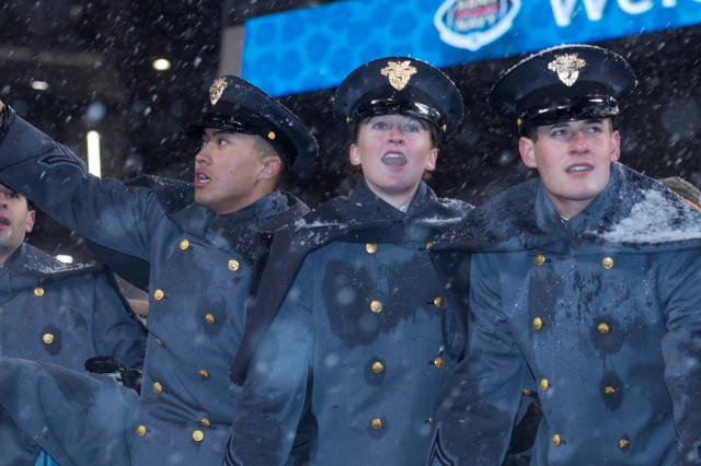 Cadets react after Navy misses a last second field goal, securing Army's second straight victory in the annual Army-Navy game in Philadelphia.