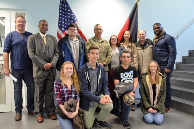 Students from Ramstein High School Environmental Club visit the U.S. Army Garrison Rheinland-Pfalz headquarters building, along with engineers from the Directorate of Public Works, to discuss energy saving measures.
