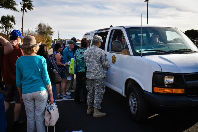 Soldiers of the California National Guard's 140th Chemical Company worked side-by-side with Ventura City Police, Dec. 9 shuttling residents impacted by the Thomas Fire to their homes to gather precious items and assess damage.
