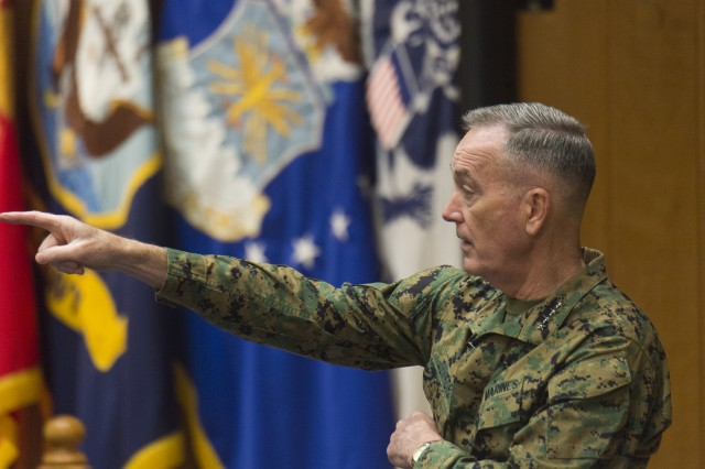 Marine Corps Gen. Joe Dunford, chairman of the Joint Chiefs of Staff, speaks to students at the U.S. Army War College, Carlisle, Pa., Dec. 7, 2017. Dunford visited the AWC to speak with students and staff.