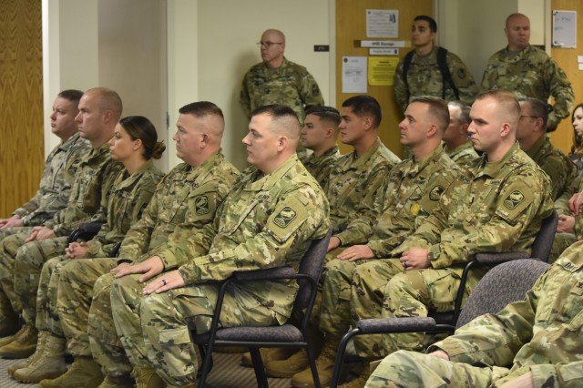 Nine 100th Missile Defense Brigade Soldiers representing the Alaska, California and Colorado National Guard, respectively, were honored during a Dec. 5, 2017, ceremony at 100th MDB Headquarters in Colorado Springs, Colo., to recognize their graduation from the Ground-based Midcourse Defense Fire Control Operator Qualification Course (GQC).