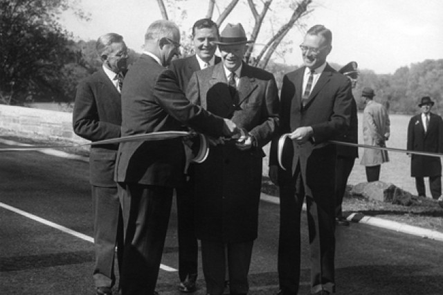 President Dwight D. Eisenhower participates in the Nov. 3, 1959, ribbon-cutting ceremony opening the new extension to the George Washington Memorial Parkway.
