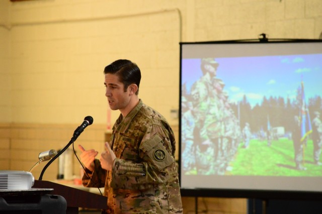 ANNAPOLIS, Md.— Capt. Nick Miller, commander of the 110th IO Battalion's General Support Company, moderates a panel about exercises and domestic operations at the Cyber and Information Operations Symposium held at the Annapolis Readiness Center, Nov. 19. This year's first-ever symposium provided an opportunity for experts in these fields to share information and build relationships as they work together to meet the unique challenges of today's dynamic threat environment.