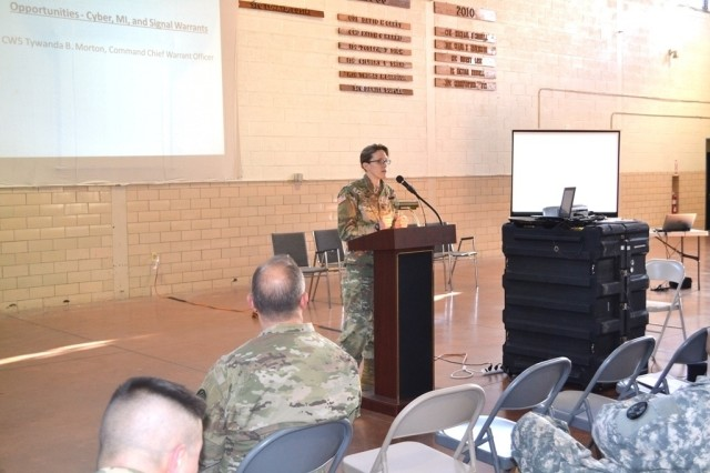 ANNAPOLIS, Md.—Col. Julie Minde, commander of the 58th Expeditionary Military Intelligence Brigade, provides keynote remarks at the Cyber and Information Operations Symposium at the Annapolis Readiness Center, Nov. 19. The event, hosted by the 110th IO Battalion, was the first of its kind for the Maryland National Guard and provided an opportunity for experts in these fields to share information and build relationships as they work together to meet the unique challenges of today's dynamic threat environment.