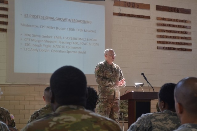 ANNAPOLIS, Md.— Maj. Steve Gerber speaks to attendees at the Cyber and Information Operations Symposium about professional growth and broadening opportunities at the Annapolis Readiness Center, Nov. 19. This year's first-ever symposium provided an opportunity for experts in these fields to share information and build relationships as they work together to meet the unique challenges of today's threat environment.