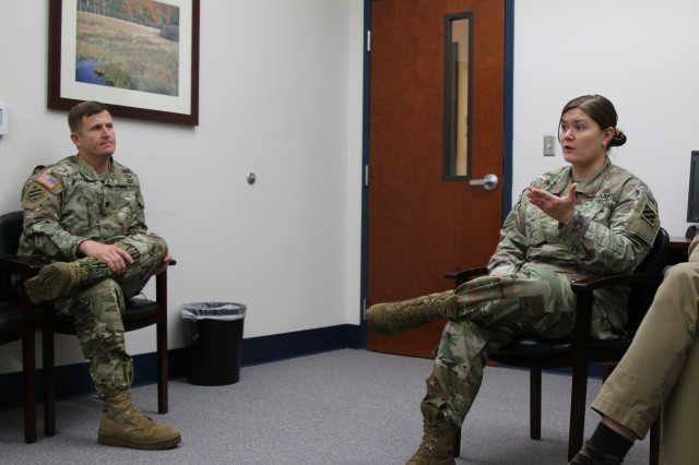 Maj. Carla Schnitzlein, 3rd Infantry Division psychiatrist, addresses suicide and the taboo of therapy to commanders at the embedded behavior health clinic at Fort Stewart, Ga. as part the behavioral health terrain walk Dec. 7, 2107. Schnitzlein talks about the changes in the medical field for the Soldiers in the 3rd Infantry Division.