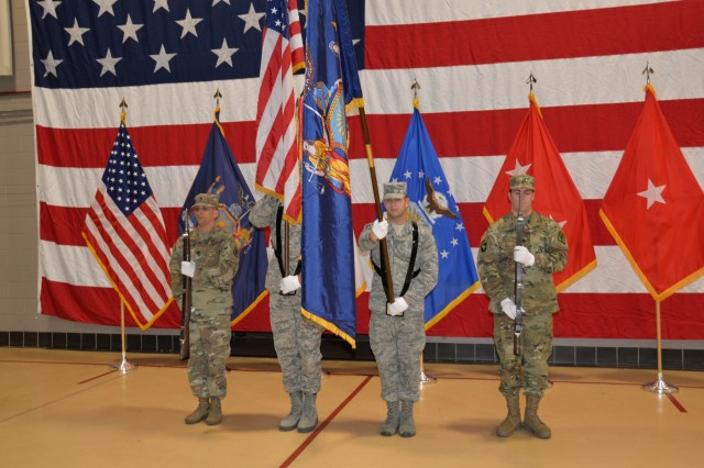 The New York Army National Guard Color Guard stands at attention during the singing of the National Anthem during the celebration of the 381st birthday of the National Guard at New York National Guard headquarters in Latham, N.Y., on December 13, 2017. The National Guard was established in 1636 and is the oldest military force in the Department of Defense.