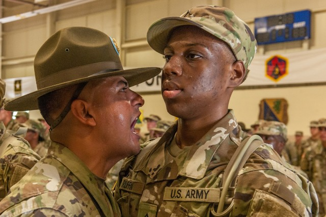 June: A drill sergeant with 2nd Battalion, 48th Infantry Regiment, welcomes a new Soldier to Fort Leonard Wood on training day zero as part of the End Strength Increase in 2017.