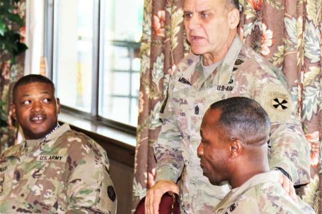Command Sgt. Maj. Richard E. Merritt, Eighth United States Army senior enlisted advisor, welcomes the 19th Expeditionary Sustainment Command's newest senior enlisted advisor, Command Sgt. Maj. Maurice V. Chaplin during a visit to area IV August 29, 2017 at Camp Walker, Korea.