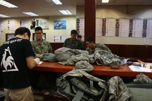 KATUSAs turn in their organization clothing and individual equipment in preparation for their Estimated Termination of Service.