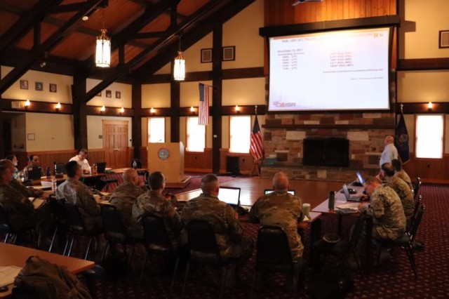 Representation from National Guard units across the country look on during a Unit Set Fielding Synchronization Conference held Nov. 15-17 at Fort Indiantown Gap, Pennsylvania.