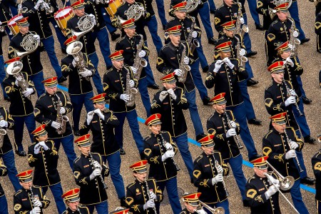"Musicians with the U.S. Army Band, ""Pershing's Own,"" march past the White House reviewing stand during the 58th Presidential Inauguration Parade in Washington D.C., Jan. 20, 2017. More than 5,000 military members from across all branches of the armed..."