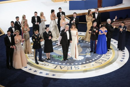 President Donald J. Trump salutes the crowd during the Salute to Our Armed Services Ball at the National Museum, Washington, D.C., Jan. 20, 2017. The event, one of the three official balls held in celebration of the 58th Presidential Inauguration, paid tribute to members of all branches of the armed forces of the United States, as well as first responders and emergency personnel.