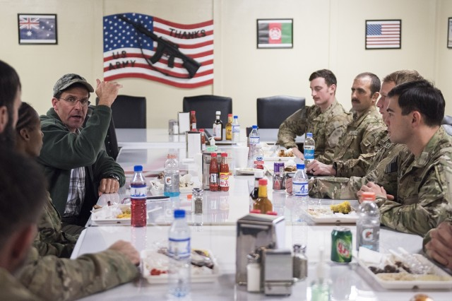 Hon. Mark Esper, Secretary of the Army, shares a meal with service members during a visit to the NATO Special Operations Component Command-Afghanistan at Bagram Airfield, Afghanistan, Dec. 16, 2017. (NSOCC-A photo by Sun Vega)