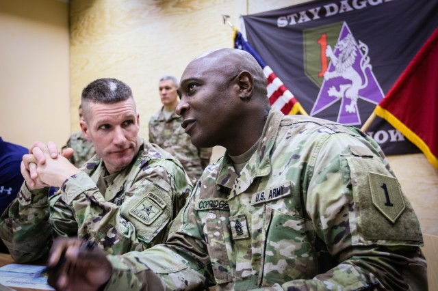 Sergeant Major of the Army Daniel A. Dailey (left), listens to Command Sgt. Maj. Craig Copridge, command sergeant major of the 2nd Armored Brigade Combat Team, 1st Infantry Division, explain the future of his unit in Zagan, Poland, Dec. 16, 2017. The Sergeant Major of the Army serves as the example for enlisted Soldiers from the most junior private to the most senior command sergeant major, and is visiting deployed locations to demonstrate his commitment to the force.