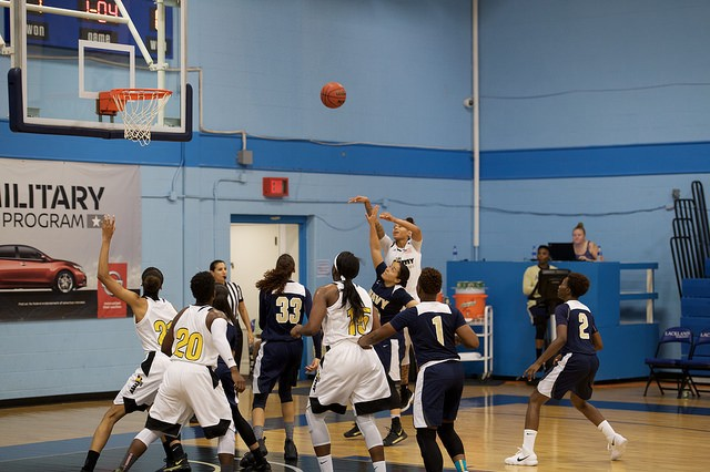 The All-Army Women's Basketball Team, based out of Fort Indiantown Gap, Pennsylvania, plays the All-Navy Women's Basketball team for the Armed Forces Women's Basketball championship on Joint Base San Antonio-Lackland, Texas, Nov. 7, 2017. Army fell short and took home the silver medal, with an ending score of 63-79.