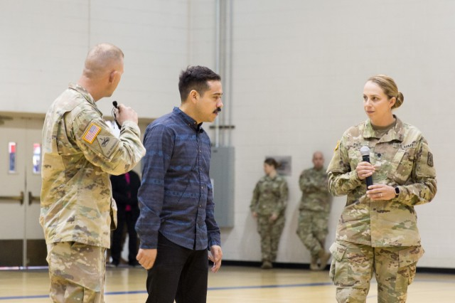 Soldiers from the U.S. Army Intelligence Center of Excellence (USAICoE) interact with Remijio Ortiz, a Pure Praxis Actor-Advocate, during a Sexual Harassment/Assault Response and Prevention (SHARP) training session held at Eifler Gym on Dec. 5.