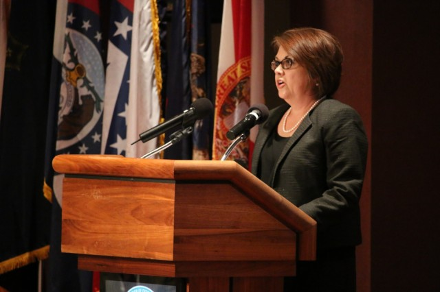 Monica Powers, who works in Resource Management at the Aviation and Missile Command, talks about leadership legacies during the Dec. 11 graduation ceremony for the Leader Investment for Tomorrow Program at Redstone Arsenal, Ala. Powers graduated from the Advanced LIFT class.