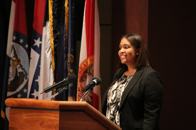 Aierelle Odom provides a glimpse into the professional and personal leadership growth of her classmates in her presentation during the Dec. 11 graduation ceremony for the Leader Investment for Tomorrow Program at Redstone Arsenal, Ala. Odom, who works for the Aviation and Missile Command's Logistics Center, graduated from the Intermediate LIFT class.