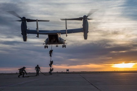 Green Berets assigned to 3rd Special Forces Group (Airborne), fast rope from a CV-22 Osprey, Feb. 27, 2017, at Cannon Air Force Base, N.M.