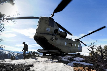 South Carolina National Guard Soldiers assigned to 2-238th General Support Aviation Battalion, perform high-altitude flight operations, aboard a CH-47F Chinook heavy-lift cargo helicopter in proximity of Vail, Colo., March 9 to March 10, 2017