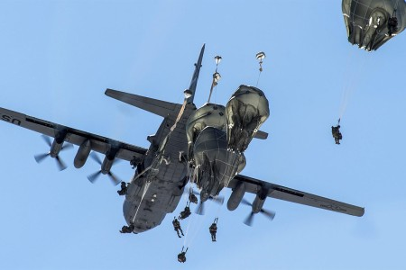 Paratroopers with the 25th Infantry Division, U.S. Army Alaska, jump out of a Nevada Air National Guard C-130H Hercules while conducting airborne training at Joint Base Elmendorf-Richardson, Alaska, April 13, 2017. These Soldiers belong to the only American airborne brigade in the Pacific and are trained to execute airborne maneuvers in extreme cold weather/high altitude environments in support of combat, partnership and disaster relief operations.