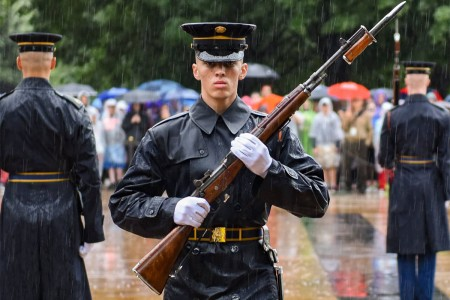 Tomb Sentinels from the 3rd U.S. Infantry Regiment (The Old Guard), conduct a changing of the guard ceremony at the Tomb of the Unknown Soldier, Arlington National Cemetery, Va., May 5, 2017. Members of The Old Guard have guarded the Tomb every second, of every day regardless of weather conditions since April 6, 1948.