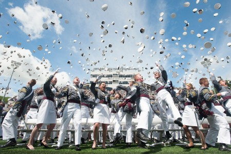 U.S. Military Academy cadets enter Michie Stadium for their graduation ceremony at West Point, N.Y. Nine hundred and thirty-six cadets from the Class of 2017 received their diplomas, May 27. The class included 151 women, 72 African-Americans, 60 Asian/Pacific Islanders, 102 Hispanics and six Native Americans.  This class also included 21 combat veterans (20 men and one woman).
