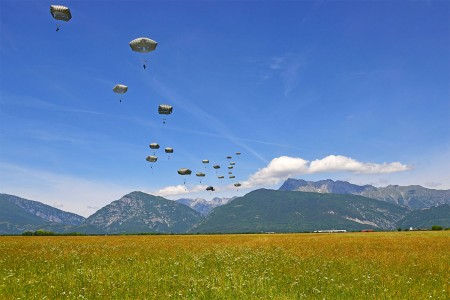 Paratroopers assigned to 173rd Airborne Brigade, conduct an airborne operation from a U.S. Air Force 86th Air Wing C-130 Hercules aircraft at Juliet Drop Zone in Pordenone, Italy, June 8, 2017. The 173rd Airborne Brigade is the U.S. Army Contingency ...