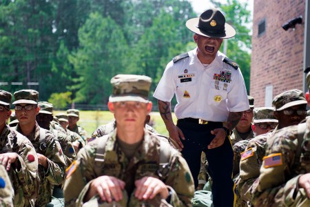 U.S. Army Drill Sergeant directs trainees on the first day of Basic Combat Training, June 12, 2017 at Fort Jackson, S.C.
