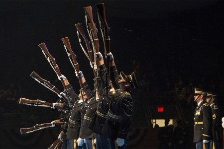 "Members of The U.S. Army Drill Team perform at the 242nd Army Birthday Twilight Tattoo, June 14, 2017, at Conmy Hall, Joint Base Myer-Henderson Hall, Va. Twilight Tattoo is an hour-long, live-action military performance featuring performances by Soldiers from the 3rd U.S. Infantry Regiment (The Old Guard) and The U.S. Army Band ""Pershing's Own."""
