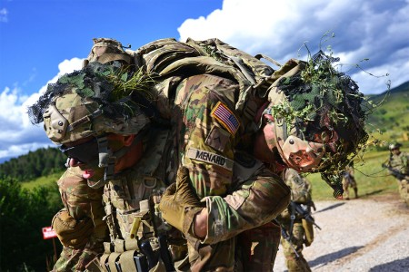 Paratroopers assigned to 173rd Airborne Brigade, conduct casualty evacuation during a live-fire exercise as part of Exercise Rock Knight at Pocek Range in Postonja, Slovenia, July 25, 2017. Exercise Rock Knight is a bilateral training exercise betwee...