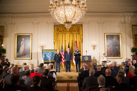 President Donald J. Trump hosts the Medal of Honor ceremony for former Spc. 5 James C. McCloughan at the White House in Washington, D.C., July 31, 2017. McCloughan was awarded the Medal of Honor for distinguished actions as a combat medic assigned to...
