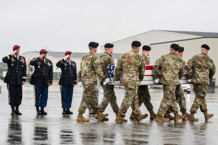 Soldiers from the 3rd U.S. Infantry Regiment (The Old Guard), conducted a dignified transfer at Dover Air Force Base, Del., Aug. 15, 2017. Sgt. Allen L. Stigler Jr. died in Iraq and will be laid to rest at Arlington National Cemetery.