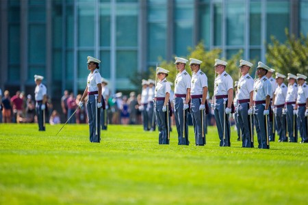 Cadet Simone Askew leads from the front. She is the first African-American woman to achieve the highest position in the cadet chain of command. The Class of 2021 has completed the Acceptance Day Parade and are now members of the Corps of Cadets, Aug. 19, 2017.