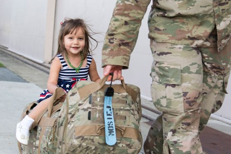 New York Army National Guard Soldiers with the 1156th Engineer Company are reunited with their friends and families as they return from a nine-month deployment to Kuwait and Iraq at Stewart Airport, New Windsor, N.Y., Aug. 31, 2017.