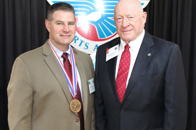 Nationally recognized medical researcher Dr. Kenneth Cameron, left, has been named the United States Sports Academy's 2017 Dr. Ernst Jokl Sports Medicine Award winner. Cameron was presented the honor by Academy Trustee Dr. Don Wukasch at the Academy's 33rd Annual Awards of Sport celebration held recently on campus in Daphne, Ala.