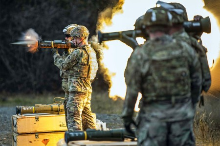 A Soldier with 17th Combat Sustainment Support Battalion, fires an M136E1 AT4-CS confined space light anti-armor weapon at Joint Base Elmendorf-Richardson, Alaska, Oct. 12, 2017.