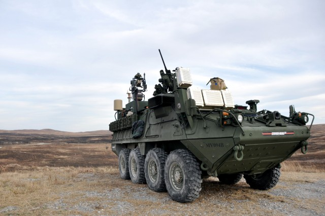 A Stryker Mobile Expeditionary High Energy Laser, or MEHEL, participates in the Maneuver Fires Integrated Experiment, or MFIX, Dec. 4-14 at Fort Sill, Oklahoma. The MEHEL was one of more than 40 platforms experimented on during MFIX.