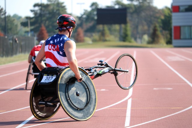 U.S. Marine Corps Sgt. Ivan Sears warms up prior to his wheelchair racing event at York Lion Stadium, Toronto, Canada, Sept. 24, 2017 during the Invictus Games. The games took place Sept. 23-30. Over 500 participants from 17 countries participated in the event.