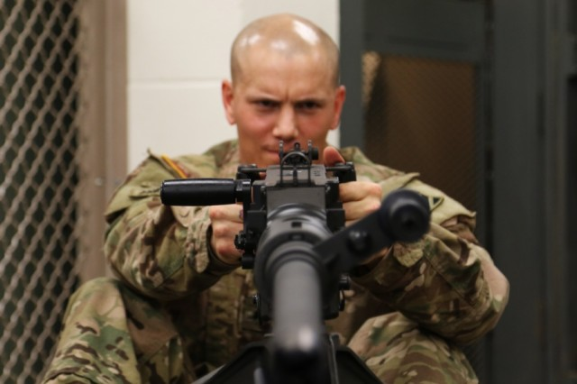 Sgt. Jeston Perryman, a small arms artillery repairman, 6th Battalion, 1st Security Force Assistance Brigade, disassembles an M-2 at Fort Benning, Georgia, Oct. 13. Perryman volunteered and was selected for the 1st Security Force Assistance Brigade, a premier unit specially trained and built to enable combatant commanders to accomplish theater security objectives by training, advising, assisting, accompanying, and enabling allied and partnered indigenous security forces.