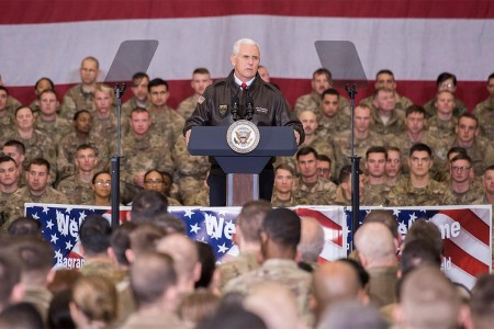 Vice President Mike Pence addresses service members at Bagram Airfield, Afghanistan, Dec. 21, 2017. (NSOCC-A photo by Sun Vega)