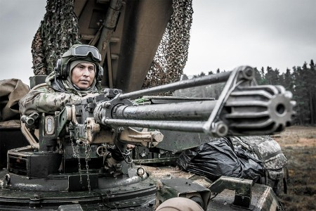 A combat engineer with the 1st Infantry Division, scans the horizon during the Allied Spirit VII training exercise in Grafenwöhr, Bavaria, Germany Nov. 17, 2017. Approximately 3,700 service members from 13 nations gathered in 7th Army Training Command's Hohenfels Training Area in southeastern Germany to participate in Allied Spirit.