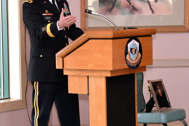 Brig. Gen. Bill Boruff gives remarks to the Fort Sam Houston community at his promotion ceremony Dec. 15 in San Antonio.