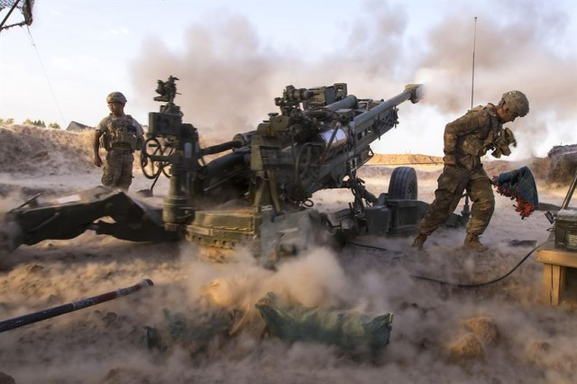 Paratroopers, with Charlie Battery, 2nd Battalion, 319th Airborne Field Artillery Regiment, 82nd Airborne Division, engage ISIS militants with precise and strategically placed artillery fire in support of Iraqi and Peshmerga fighters in Mosul.