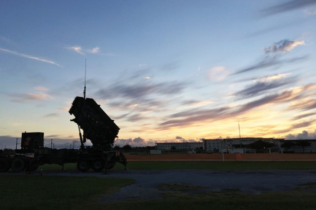 Soldiers with Delta Battery, 1st Battalion, 1st Air Defense Artillery erect a launching station in preparation during the unit's Table XII Collective Advanced Gunnery Certification on Dec, 06, 2017 in Okinawa, Japan.