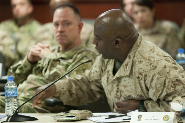 U.S. Marine Corps Col. Grady Belyeu, Marine Corps Forces Central Command senior budget analyst, emphasizes a point during a panel session at the 2017 Financial Management and Comptroller Forum, Dec. 5, 2017 in Qatar. (U.S. Army photo by Spc. Joseph Black, USARCENT PAO)